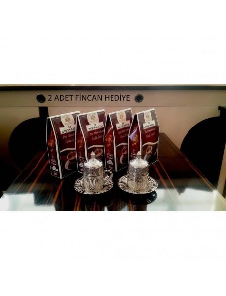 4 Adet 250 Gr Paket Dibek Kahvesi +2 Adet Fincan